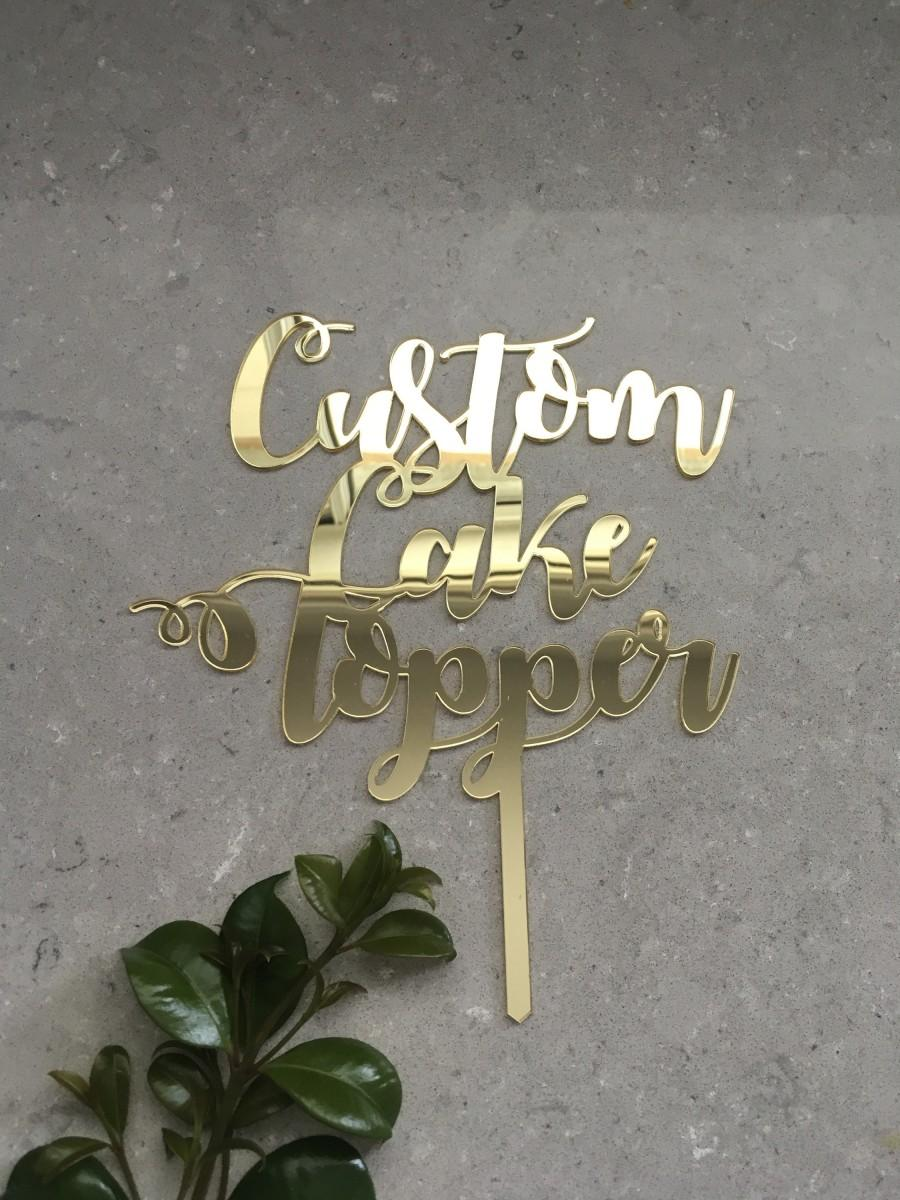 زفاف - Custom Acrylic Birthday Cake Topper / Personalised Mirror Name Cake Topper / Wedding Wood Monogram Cake Topper