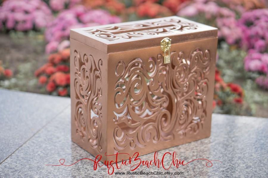 زفاف - Rose gold wedding card box with lock and slot, size - L, capacity: 100 - 300 cards, 1pcs