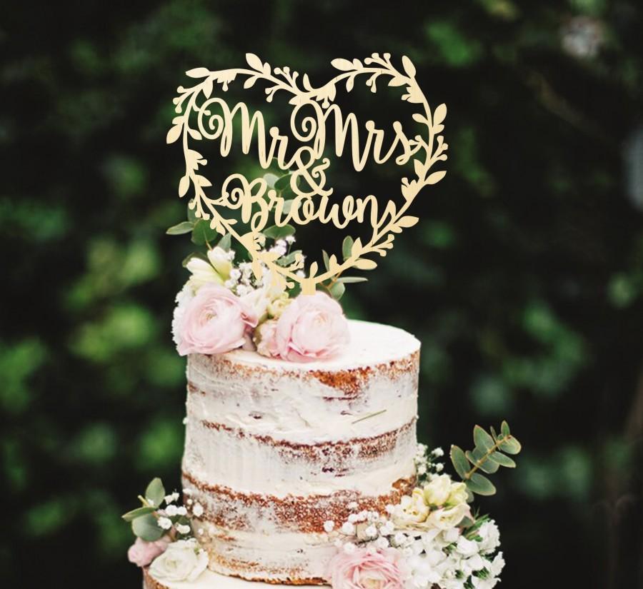 زفاف - Mr & Mrs Cake Topper Wreath Cake Topper Wedding Cake Topper Last Name Cake Topper Wooden Cake Topper Rustic Cake Topper Unique Cake Topper