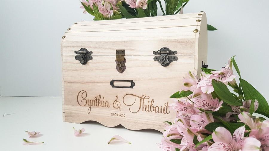 زفاف - Wedding card box Lockable wedding box Card box for Wedding card holder Wedding chest Keepsake box Card box with slot Large wood box chest
