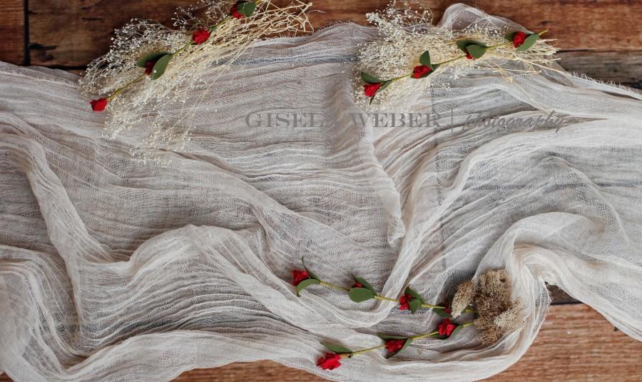 Wedding - Rustic Wedding Table Runner, Gauze Runner, Beach Wedding Decor, Boho Sand Beach Wedding, Natural Bride Reception Table Gauze Fabric