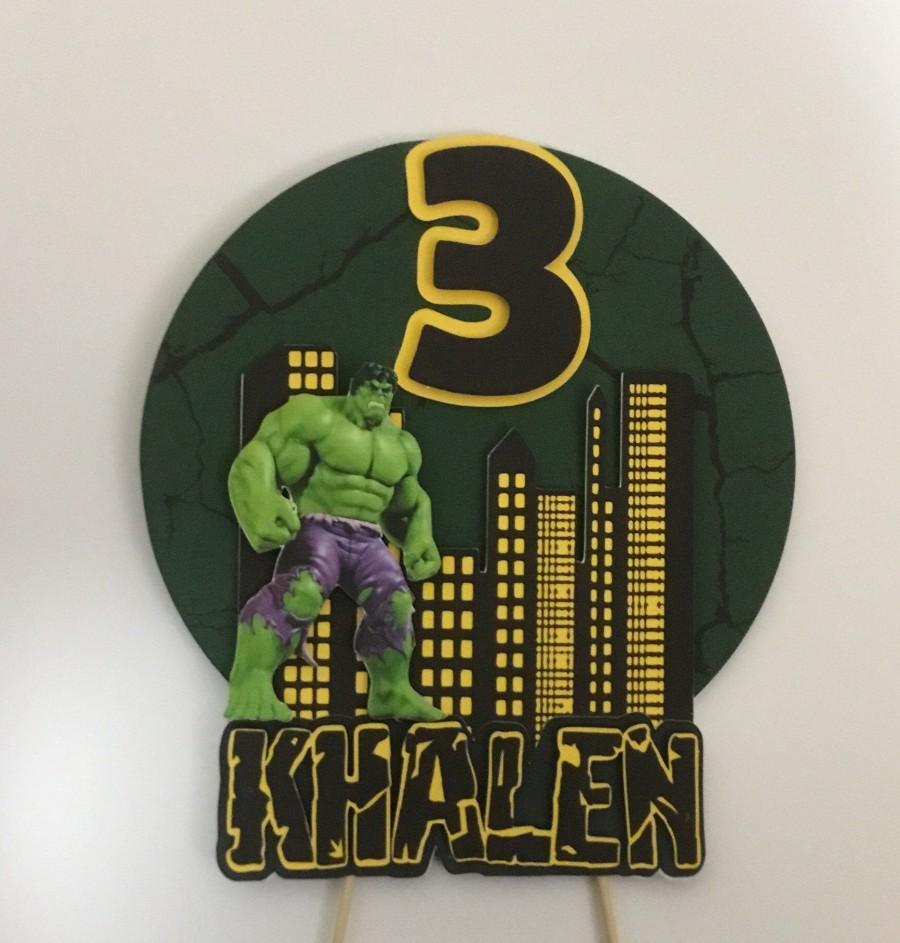Wedding - Incredible Hulk Cake Topper/ Personalized Super hero Topper