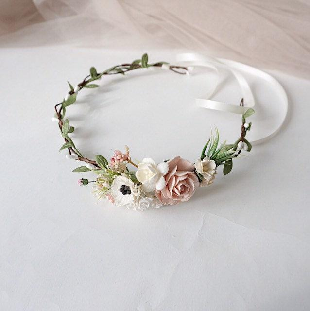 Wedding - Flower girl crown, pale pink and blush floral crown, anemone flower girl crown, twig headband, bridal flower crown, wedding crown, floral