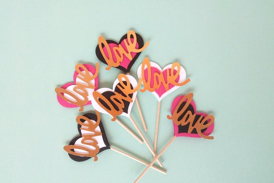 Свадьба - Kate Spade inspired Cupcake Toppers - Kate Spade inspired Party Decorations - Kate Spade Bridal Shower Decorations - Love Heart Toppers