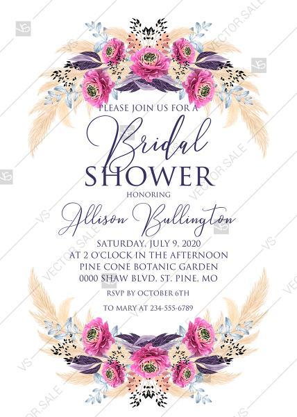 Hochzeit - Pampas grass bridal shower wedding invitation set pink peony flower pdf custom online editor 5x7 in