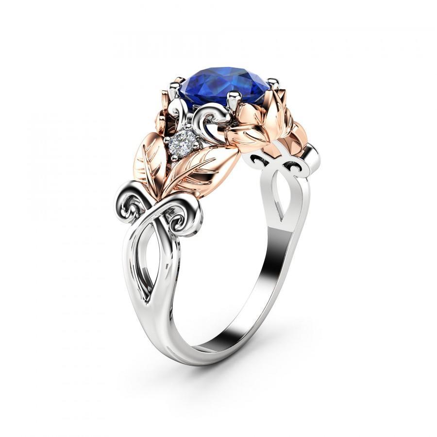 Свадьба - Blue Sapphire Engagement Ring 14K Two Tone Gold Sapphire Ring Leaf Design Engagement Ring