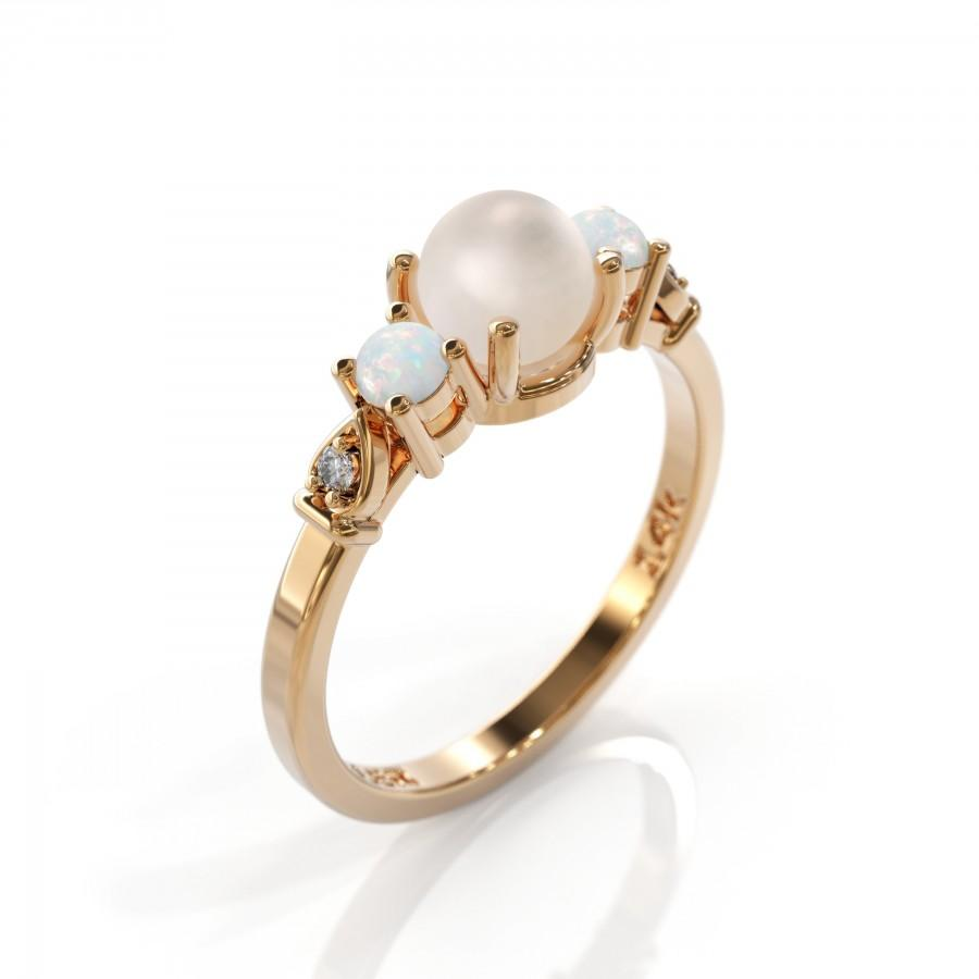 زفاف - Pearl engagement ring, rose gold opal, Diamond Pearl, 14k, October birthstone, opal and pearl, Inspirational Gift, Chic engagement ring
