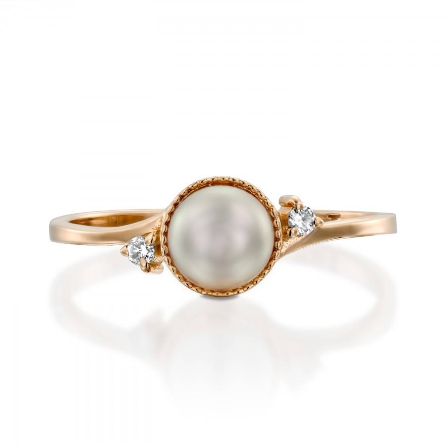 Mariage - pearl engagement ring rose gold Pearl Wedding Ring pearl vintage ring White Pearl Ring Diamond Pearl Gold Ring 14k gold pearl gift