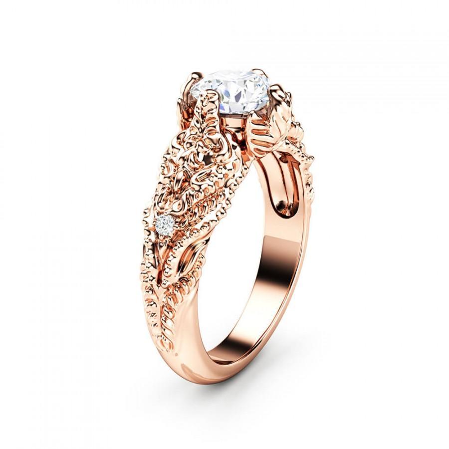 Wedding - Art Nouveau Moissanite Engagement Ring 14K Solid Rose Gold Wedding Ring Nature Inspired Rose Gold Band