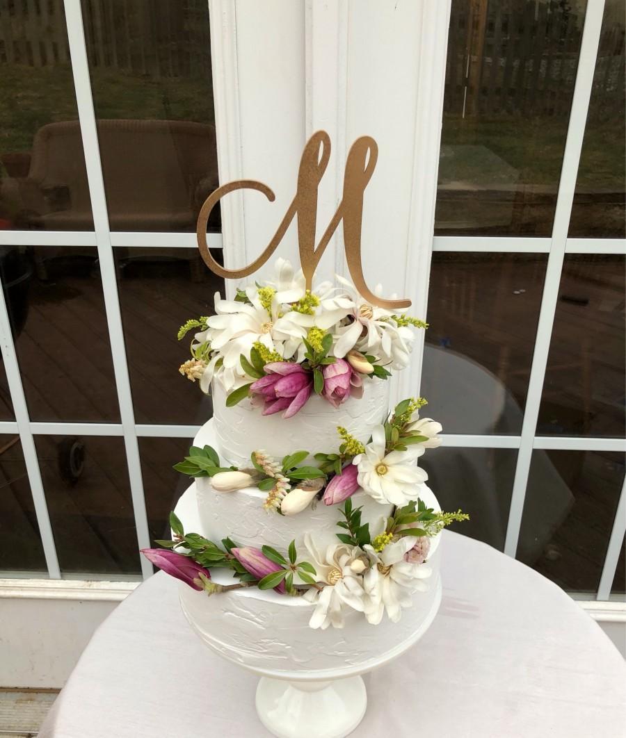 Свадьба - BEST SELLER! Cake Topper Initial- One Letter Cake Topper - Wedding Cake Topper With Initial - Monogram Cake Topper