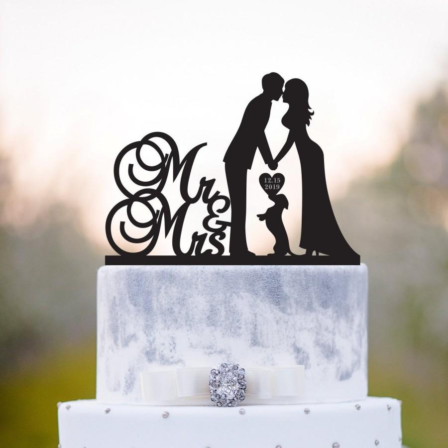 Свадьба - Wedding cake topper with dog,mr n mrs cake topper,miniature dachshund cake topper,Dachshund cake topper,cake topper date,topper with dog,a84