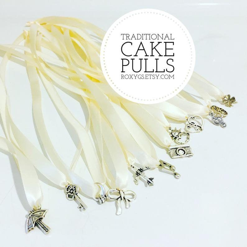 Hochzeit - Cake Pulls 12 Traditional Priority Mail 12 Charms general Southern Bridesmaid game bride ivory ribbon wedding charm cake wedding New Orleans