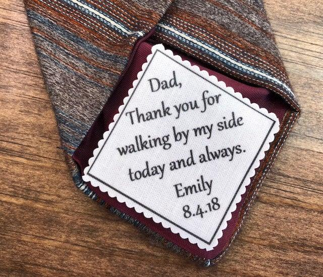 """Свадьба - GIFTS FOR HIM - Wedding Tie Patch - Father of Bride, Father of the Groom, Groom Patch - 2"""" Wide Patch, Sew or Iron, Skinny Tie, Choose Font"""