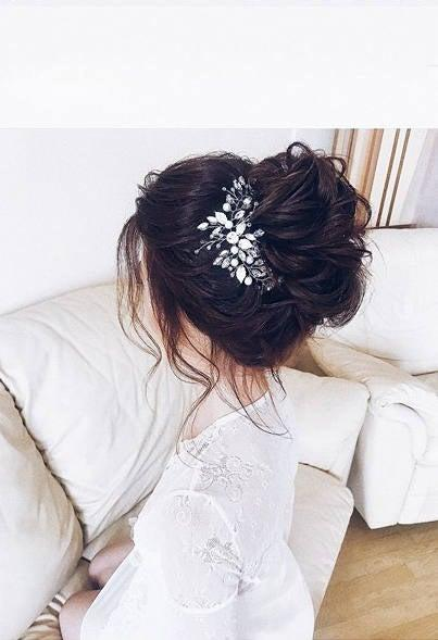 Mariage - Jewelry for hair, Hair decor, Hair jewelry, Bridal hair piece, Wedding accessories, Leaves, Crystal headpiece