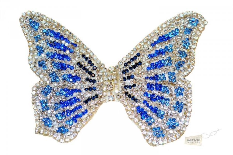 Wedding - Swarovski crystal Bridesmaid Flower Girl Butterfly Blue Silver White Classic Vintage Lace Bridal Hair Clip Piece Slide