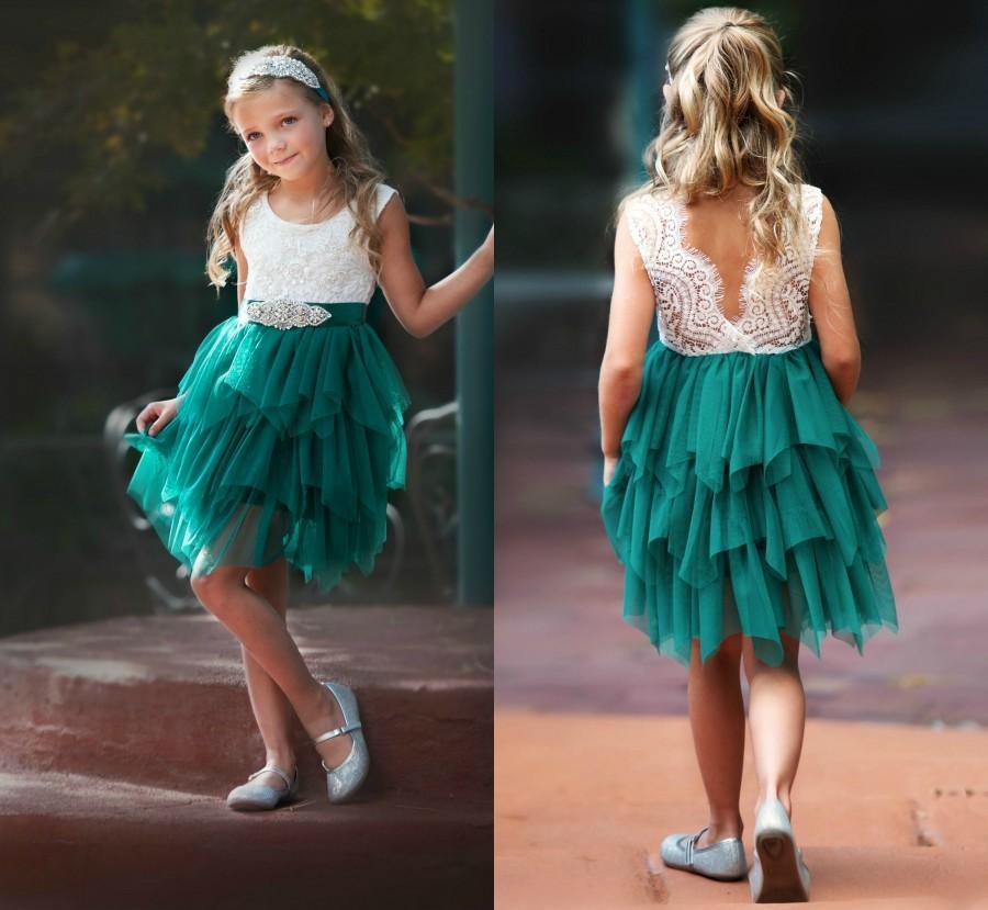 Wedding - Emerald Flower Girl Dress, Green Christmas dress, Flower girl dresses, lace flower girl dress, tulle flower girl dress,rustic flower girl