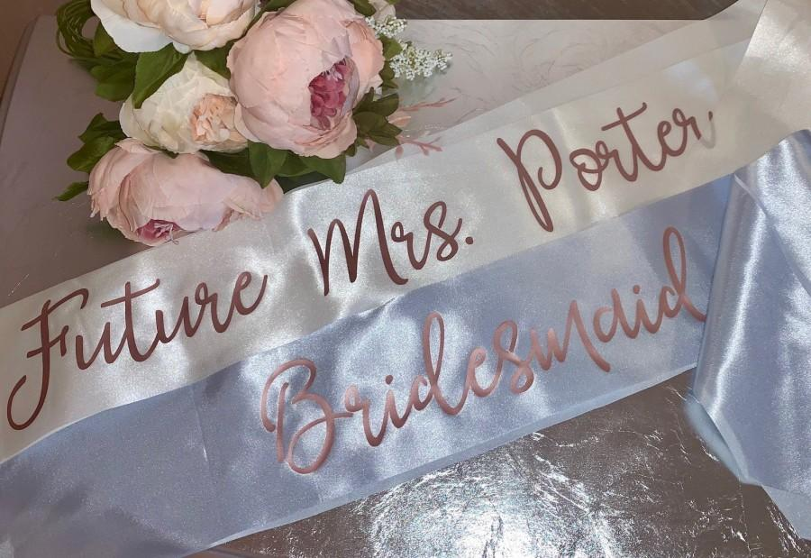 Mariage - Custom Party Sashes With Pin Included, Bride to Be Sash, Future Mrs Sash, Customized Sash, Bachelorette Party, Bachelorette Sash