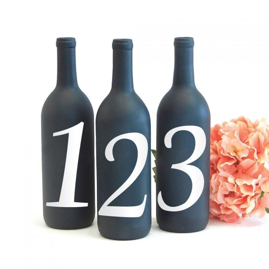 Mariage - Table Number Vinyl Decal, Table Number Sticker for Wine Bottle Wedding Centerpiece Decoration