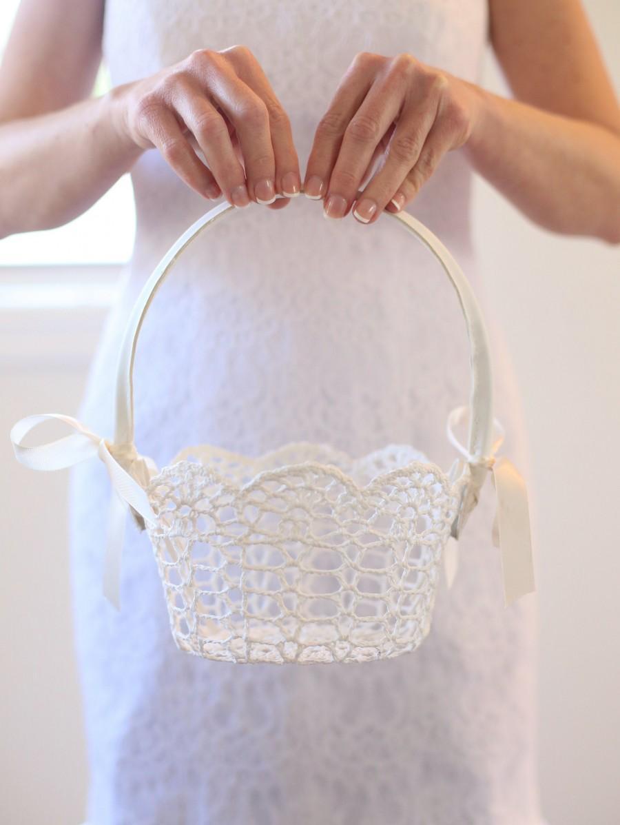 زفاف - Lace Flower Girl Basket Flower Girl Basket Crochet Lace Flower Girl Basket Simple Flower Girl Basket Classic Wedding Simple Wedding CUSTOM