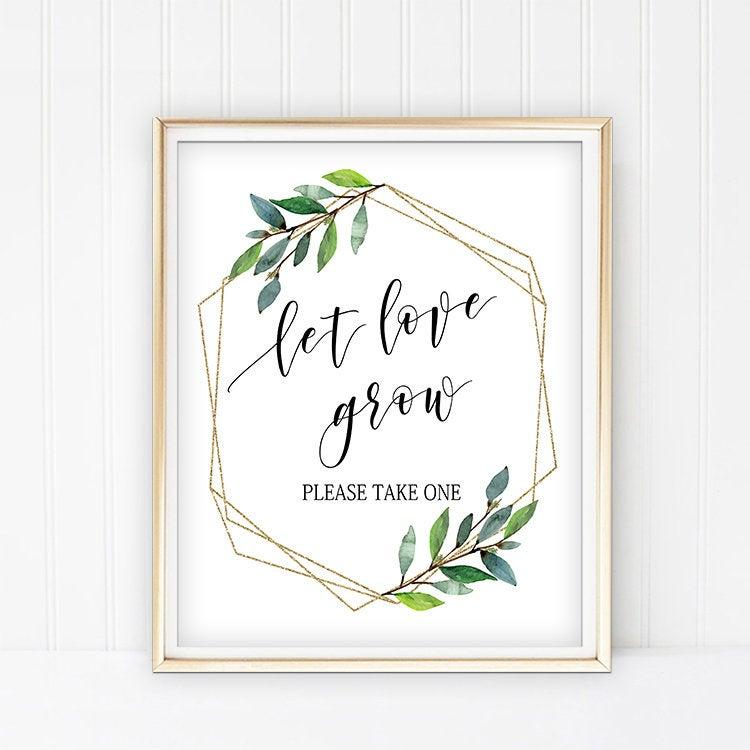 Mariage - Let love grow sign, Greenery let the love grow sign, Boho Leaves Wedding Favors Sign Printable, favor table sign 8x10 5x7 decor signage G11