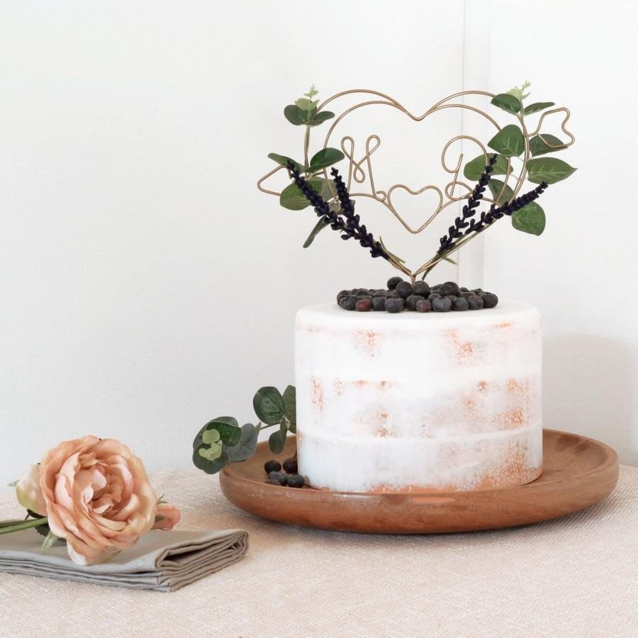 Mariage - Dark Lavender Heart Wedding Cake Topper