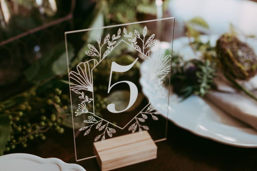 Mariage - Garden Acrylic Table Numbers - Modern Wedding Sign - Wedding Table Decor - Outdoor Boho Clear Table Number - Romantic Wedding Table Decor -