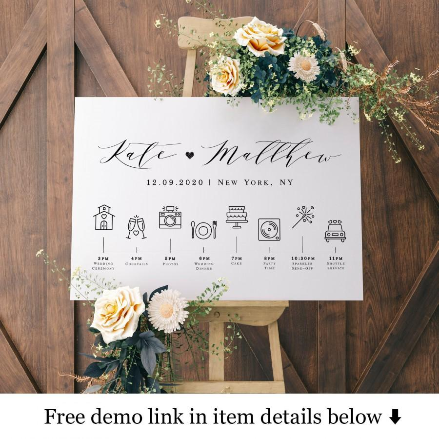 زفاف - Simple Welcome name sign, Wedding timeline poster template with icons, Order Of The Day, Agenda, Schedule Of Events, Infographic pdf #vmt310