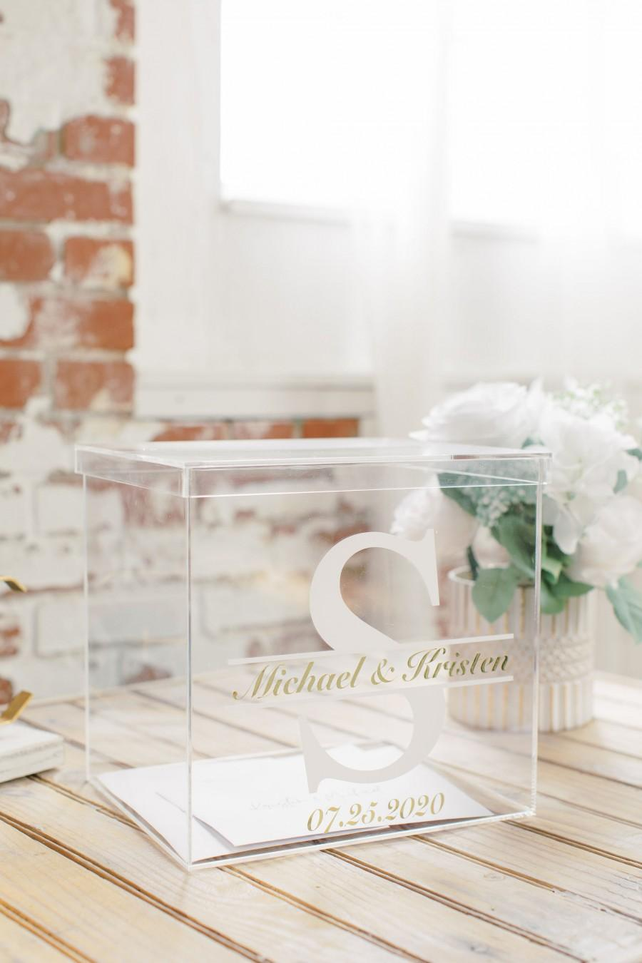 Mariage - Two Color Personalized Wedding Card Box I Acrylic Card Box