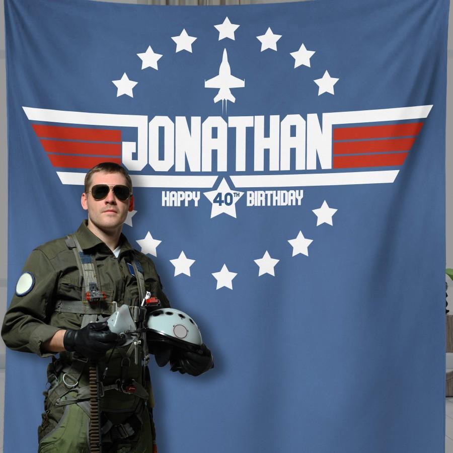 Mariage - 40th Birthday Top Gun Theme Birthday Party Backdrop