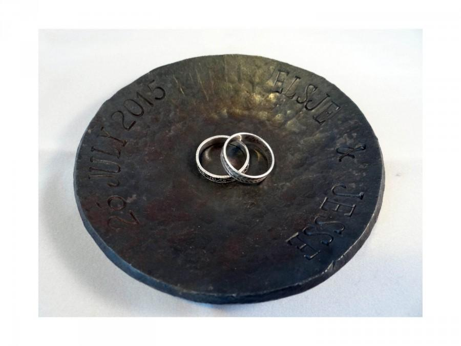 Wedding - Wedding ring dish - 6th iron anniversary gift - steel wedding gift - personalized ring bearer - 11th anniversary gift -western wedding gift