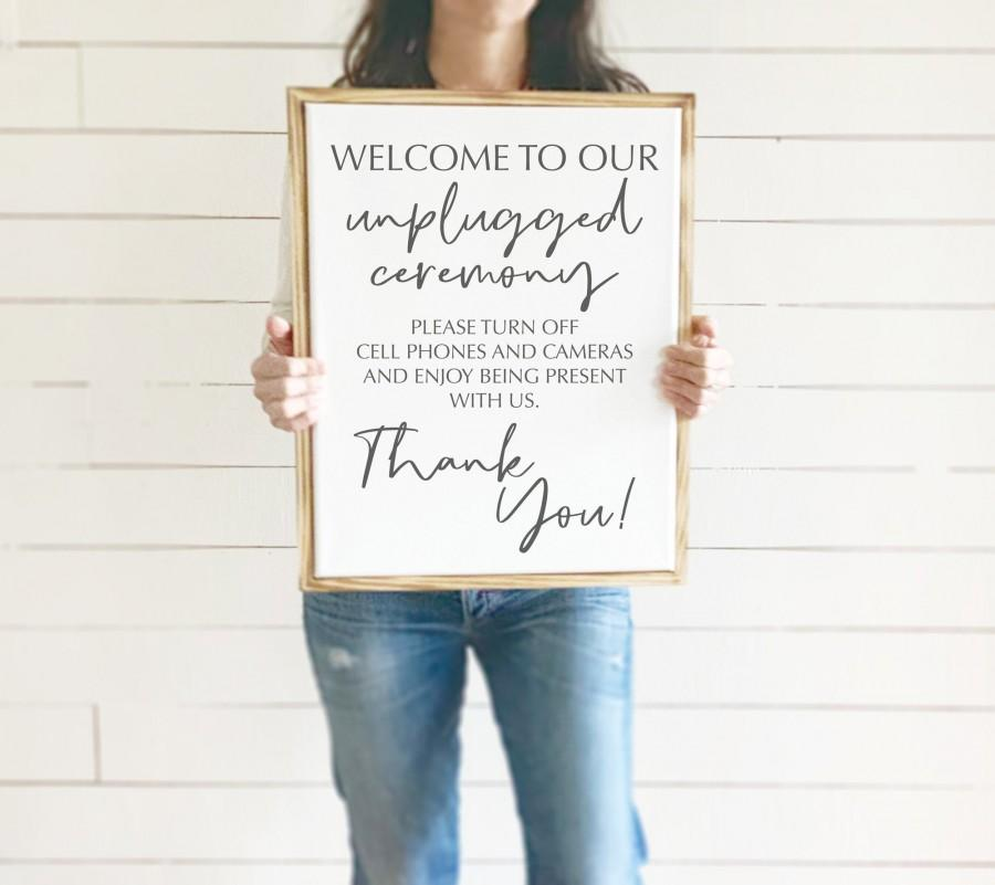 Mariage - Welcome to our Unplugged Ceremony sign, Rustic Ceremony Wedding Sign,  14x18 or 9x12 with distressed wood frame, No Cell Phones or Cameras