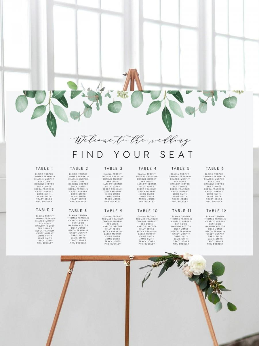 Mariage - Landscape Seating Chart, INSTANT DOWNLOAD Portrait, Horizontal, Signage, Table Poster, Seating Plan, Table Layout, Templett, DIY