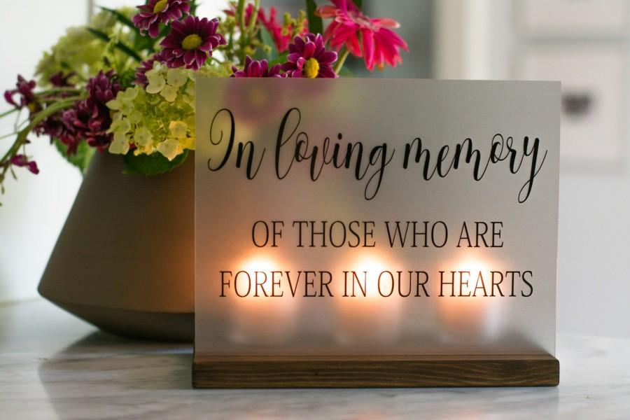 زفاف - Wedding Memorial Sign - In Loving Memory Wedding Sign - Acrylic Wedding Sign - Memorial Candle - Memory Wedding Decor - Wedding Luminary