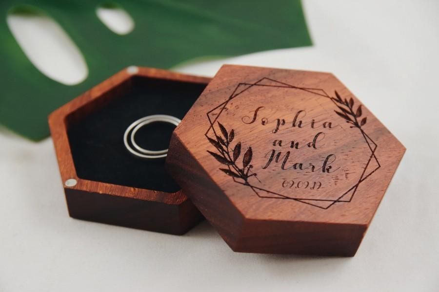 Wedding - Modern Wooden Custom Engraved Wedding Jewelry Box, Personalized Hexagon Ring Box, Handmade Hardwood Geometric Wooden Ring Box, Custom made
