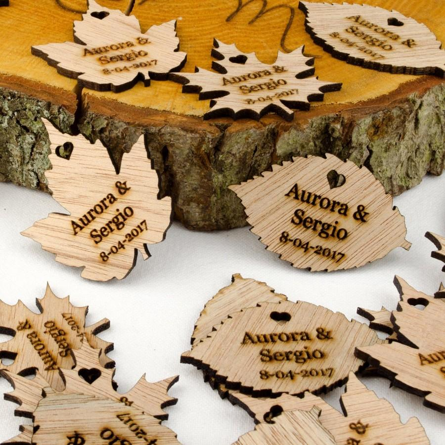 Wedding - Personalised Wooden Leaf Table Decorations. Bespoke Rustic or Vintage Wedding Favours. Any Message Engraved in Any Font. Free UK Delivery.