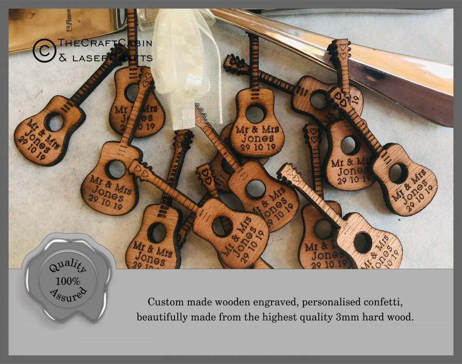 Wedding - Personalised Wooden Acoustic Guitar. Wedding Favours, Table Confetti, Party Decorations. Vintage, Rustic, Retro.