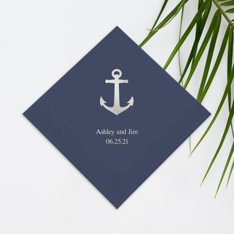 Wedding - Set of 100 Anchor Print Wedding Napkins - Paper Wedding Napkin - Custom Wedding Napkins - Printed Napkins - Wedding Napkins - Nautical Theme