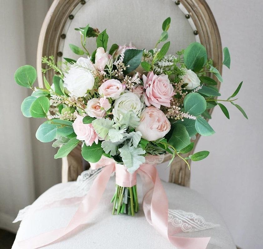 Wedding - White &  Blush Bridal Bouquet Pink Wedding Bouquet, Cream and blush wedding flowers, Silk Bouquets, Bridesmaid Bouquets, Artificial