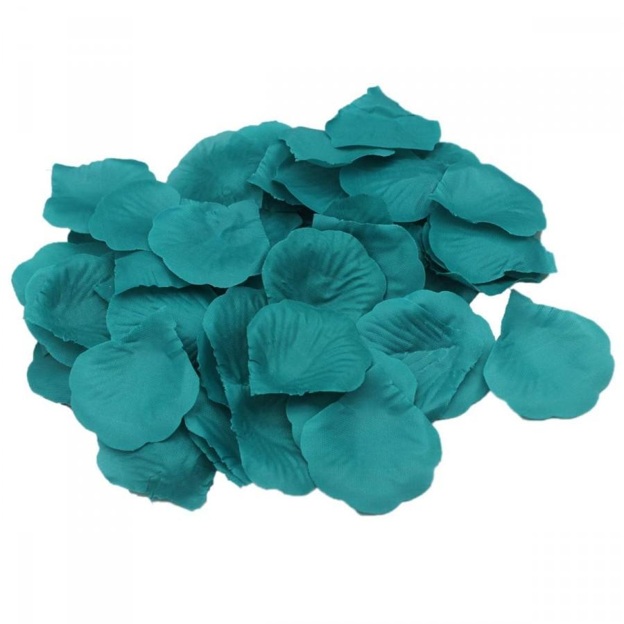 Mariage - 1000 Teal Blue Silk Rose Petals Wedding Table Confetti Aisle Decor Guest Toss Flower Girl Basket Decor