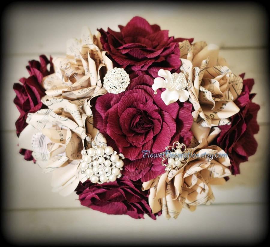 Mariage - burgundy bouquet paper flowers bouquet book pages bouquet music sheets bouquet burgundy wedding burgundy bridesmaid burgundy flowers decor