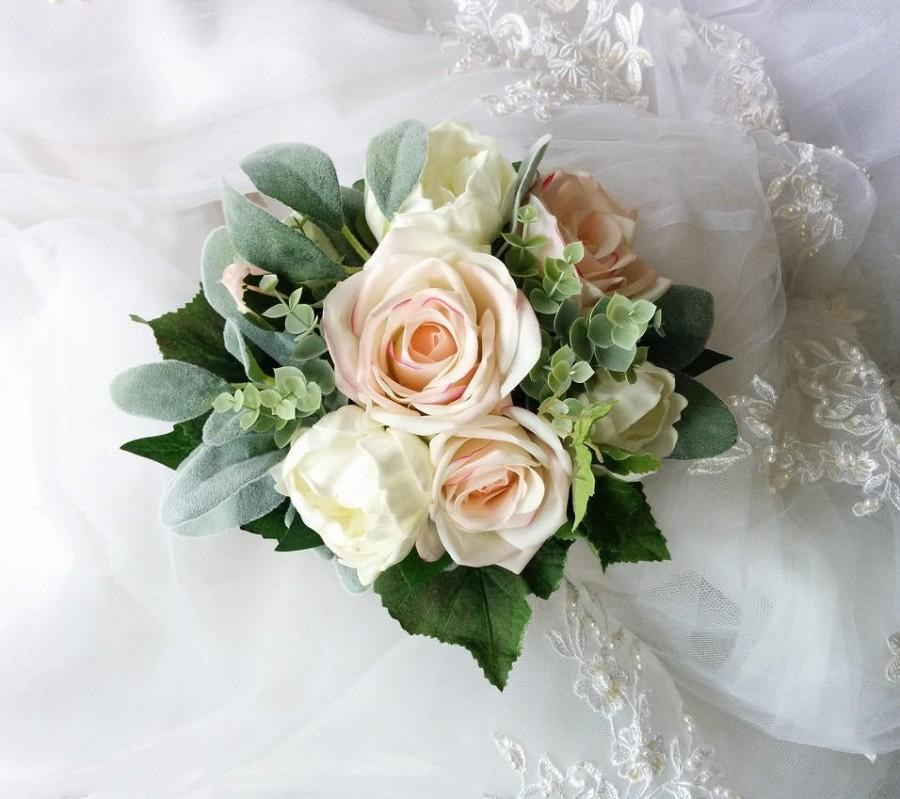 Hochzeit - Wedding Boho Bouquet Natural Touch Ivory Peonies and Blush Roses with Faux Lamb's Ear Eucalyptus and grape leaves Silk Wedding Bouquet