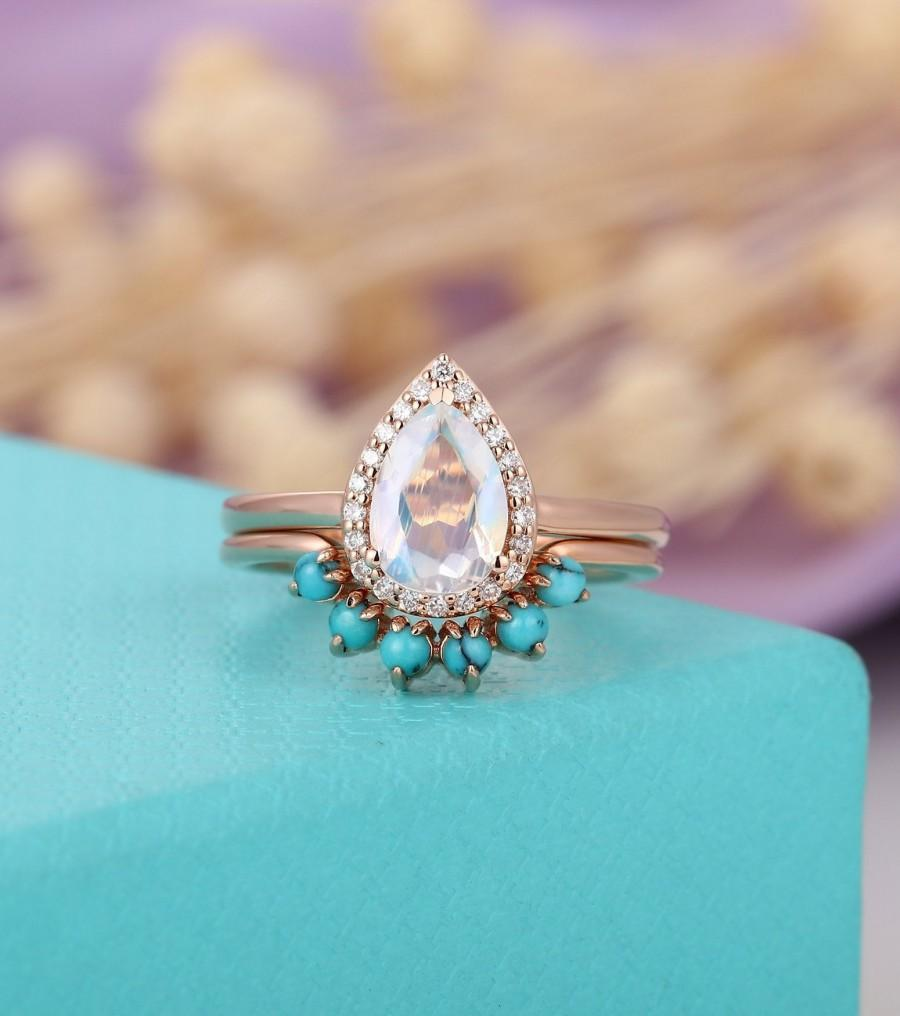 Mariage - Moonstone engagement ring set, Gold, Rose gold,pear shaped, halo diamond Curved  Turquoise wedding band women Anniversary gift for her