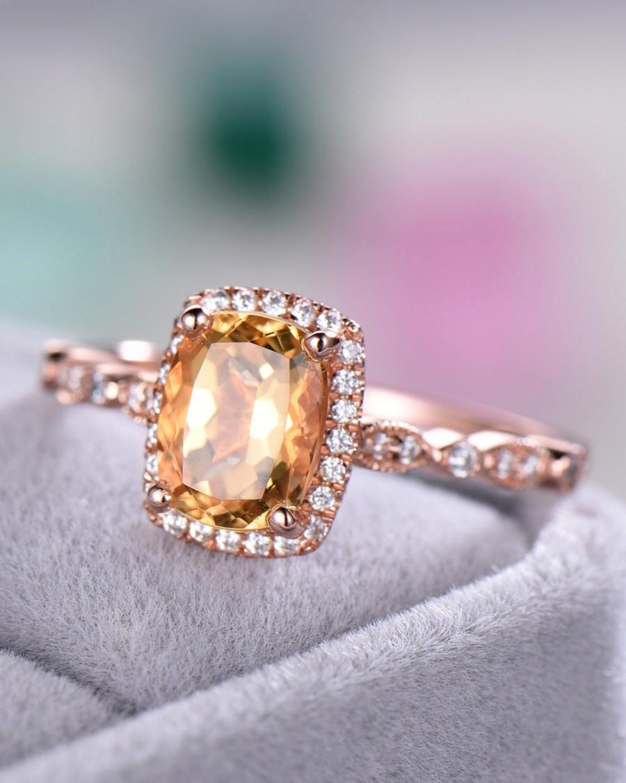 Hochzeit - Citrine Engagement Ring Rose Gold 925 Sterling Silver CZ Cubic Zirconia Diamond Halo Art Deco Anniversary Gift Bridal Set Women Cushion Cut