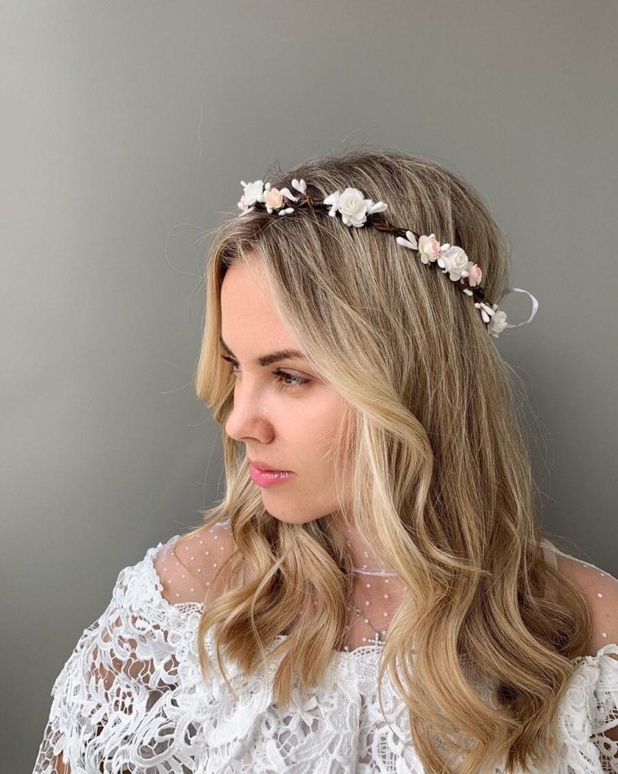 Свадьба - Flower hair wreath bridal flower crown adult bridal floral crown wedding headband flower head wreath white flower crown bachelorette crown
