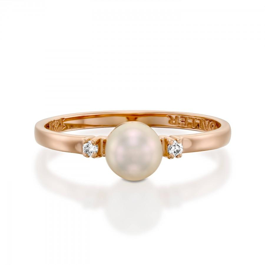 Mariage - pearl Diamond Ring, white pearl engagement ring, June birthstone ring,Diamond Wedding Ring with Solitaire Pearl Ring, 14k gold pearl ring