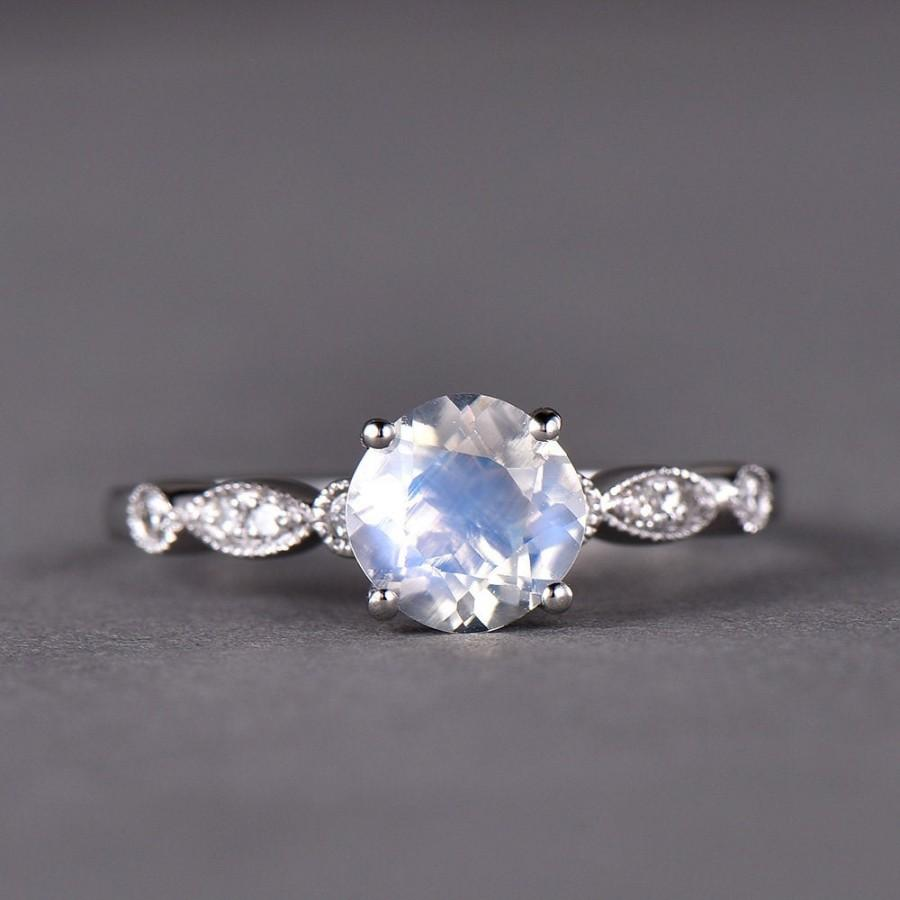 زفاف - Antique Moonstone Engagement Ring 14k White Gold 925 Sterling Silver CZ Diamond Art Deco Wedding Marquise Milgrain Bridal Anniversary Gift