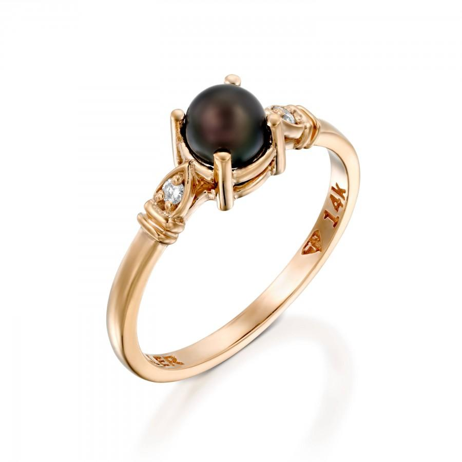 Hochzeit - Black Pearl Engagement Ring, Wedding, Rose Gold , Vintage Style Ring, Unique Engagement Ring, Black Pearl Ring, Inspirational Gift for Her
