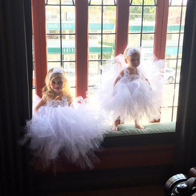 Mariage - Flower girl dress - Tulle flower girl dress - White Dress - Tulle dress-Infant/Toddler - Pageant dress - Princess dress - White flower dress