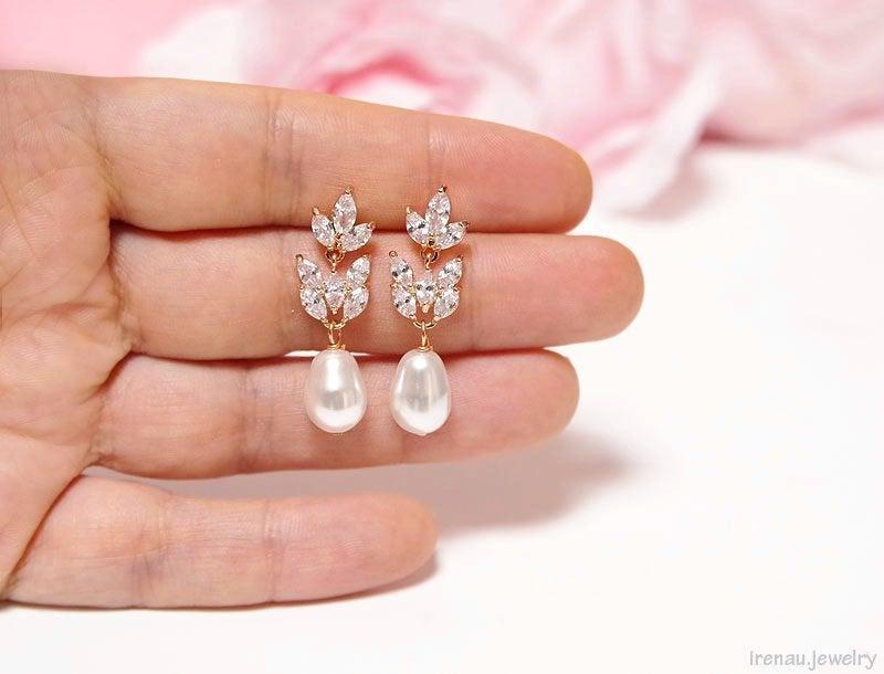 Bridal Pearl Earrings Crystal Rose Gold Earrings Swarovski Pearl Earrings Wedding Teardrop Dangle Pearl Drop Earrings White Or Cream 2931002 Weddbook