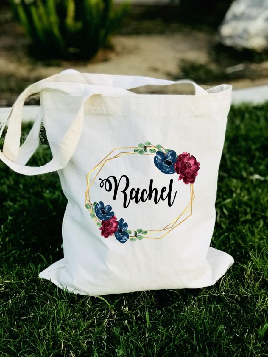 Wedding - Personalized bridemaid tote, Set of 4 5 6 7 8 9 10, Bachelorette tote bag, gift for bridesmaids, bridesmaid tote bag, floral tote bag, tote